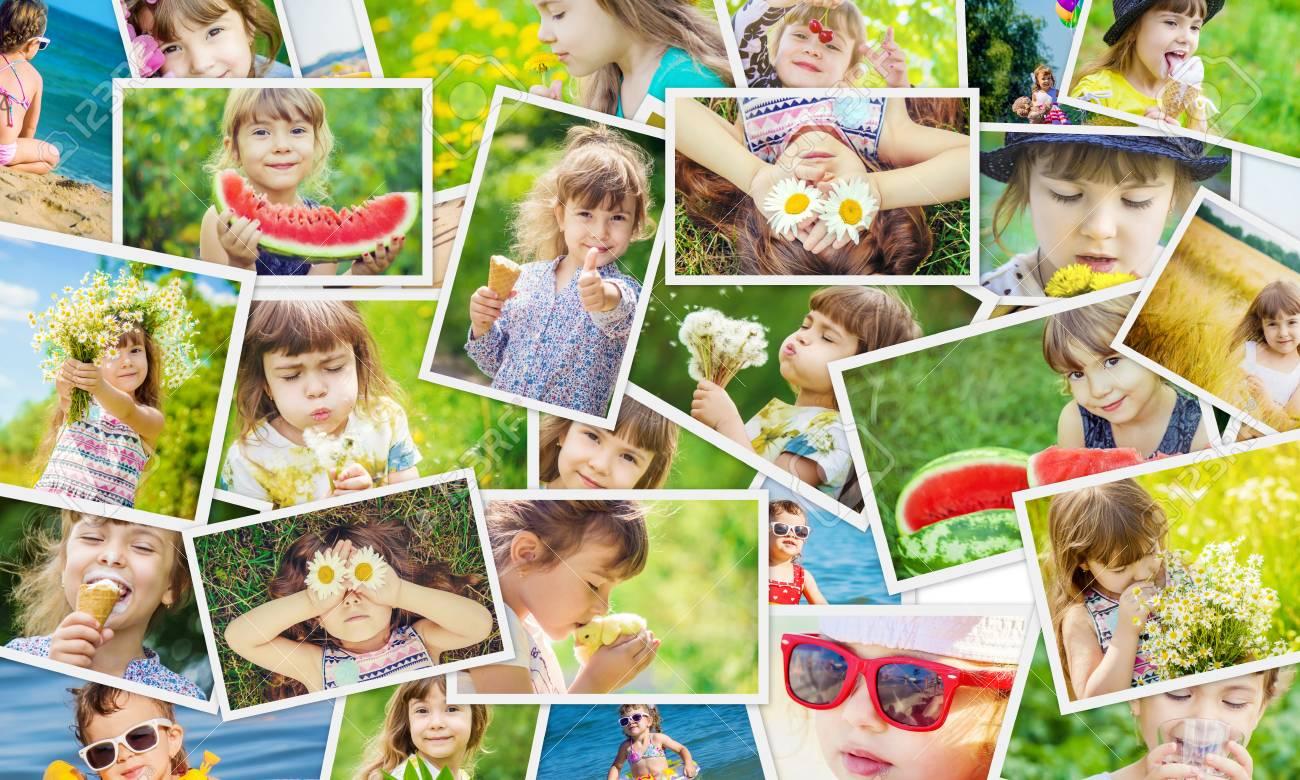 Children's Collage Summer Photos. Kids Girl Collage.